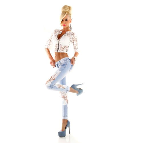 Sexy-Women-Light-Blue-Slim-Skinny-Jeans-Ladies-with-Lace-size-6-8-10-12-14-S-M