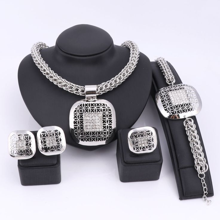 Fashion African Beads Jewelry Set Exquisite Dubai Silver Plated Square Crystal Jewelry Set Nigerian Wedding Bridal Bijoux