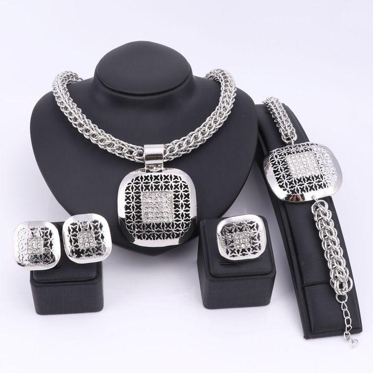 Mode Afrikaanse Kralen Sieraden Set Prachtige Dubai Verzilverd Vierkante Crystal Sieraden Set Nigeriaanse Wedding Bridal Bijoux