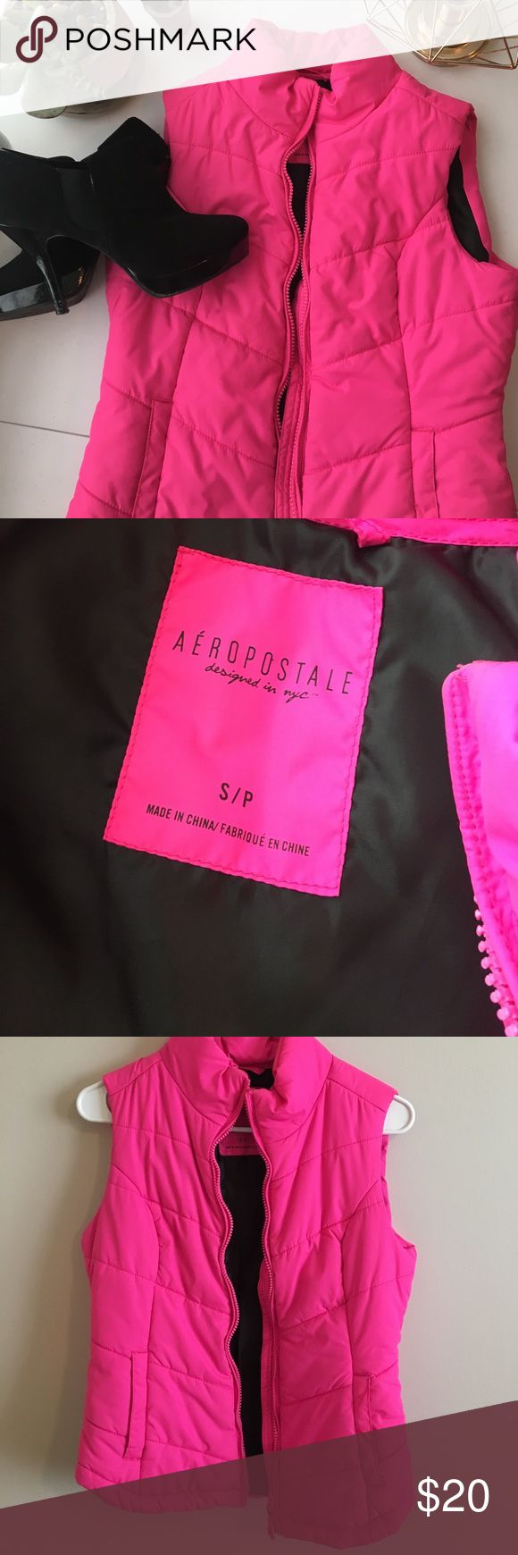 Hot pink vest ♥️great condition. Like new. Worn once.                                  ♥️says S/P  fits a small or medium.                                      ♥️Super fun and cute on.                                                                                         ♥️bundle discounts available.                                             ♥️open to trades and offers. Aeropostale Jackets & Coats Vests