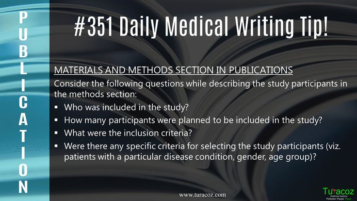 #TuracozHealthcareSolutions shares the questions to be considered when describing the study participants in the methods section.