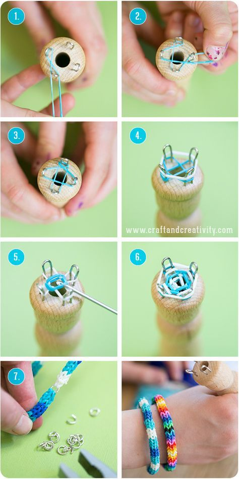 Rubber band spool knitting - by Craft and Creativity