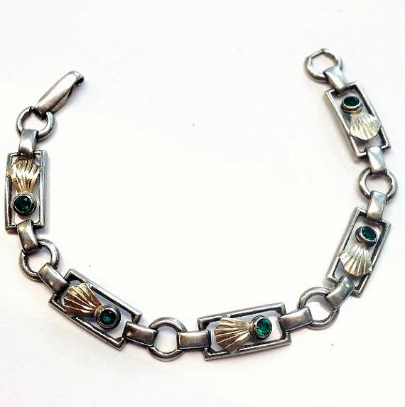 Vintage 925 sterling silver gold vermeil green cubic zirconia bracelet by Emmalishop