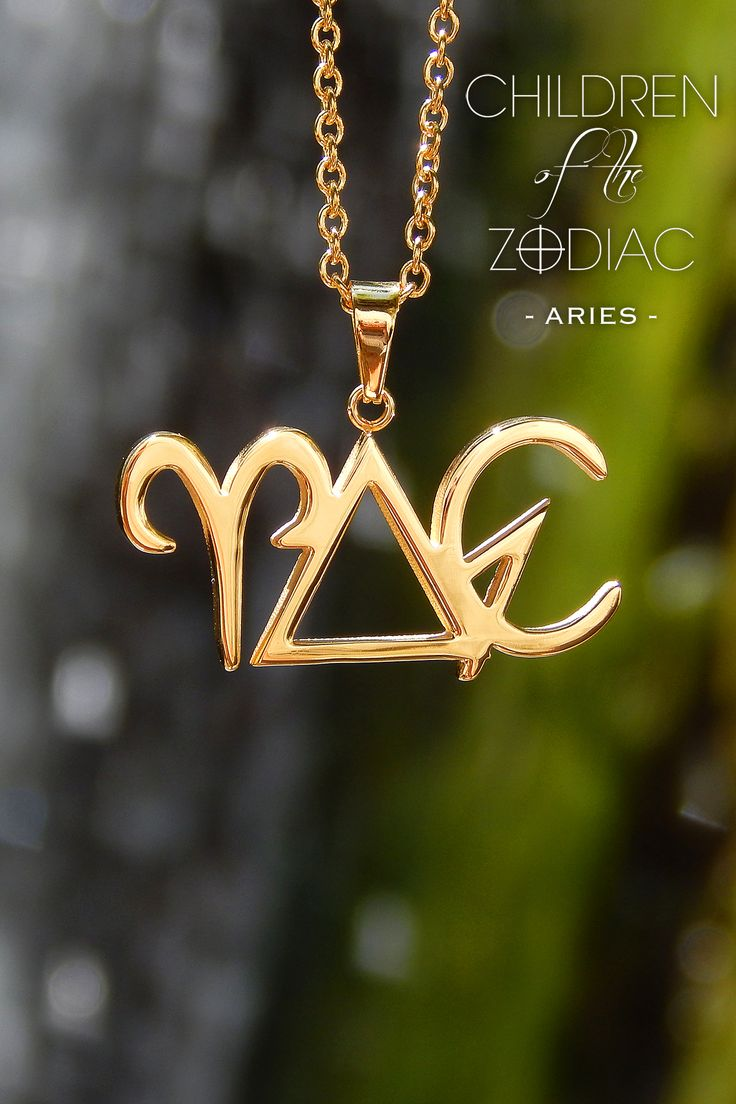 "Harness the power of the stars with this Aries Zodiac Necklace. A subtle reminder of that which you are destined for.  ★ The Horizontal Aries Necklace from the ""Children Of The Zodiac"" collection by Patrick Simon consists of the Aries astrological symbol, Fire alchemical symbol, which is the ruling element associated with Aries and the alchemical symbol for summer."