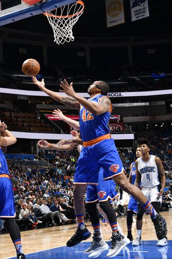 ORLANDO, FL - MARCH 6: Lance Thomas #42 of the New York Knicks goes for a lay up against the Orlando Magic during the game on March 6, 2017 at Amway Center in Orlando, Florida. (Photo by Fernando Medina/NBAE via Getty Images)