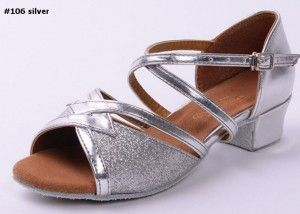 latin dance shoes #106 silver