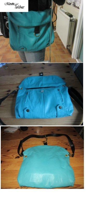tas van ( nep) leren jasje waar je in een handomdraai een schoudertas omtovert tot rugzak