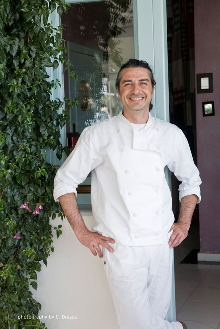 Chef Dimitris Lazarou at the Saltsa restaurant in Santorini