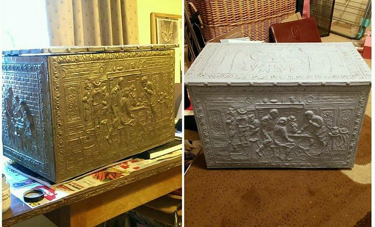 Coal brass box! Pop some Old White Chalk Paint on & voilà!.... From one of our crazy talented customers!
