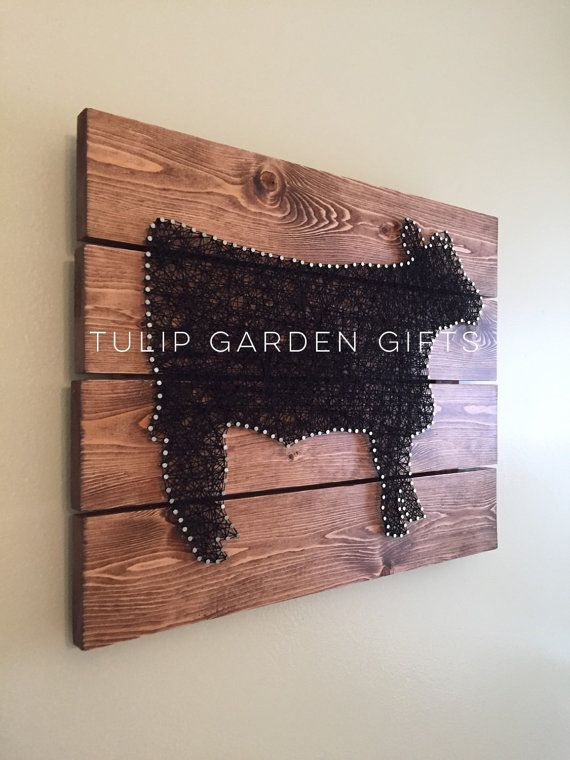 Cow String Art Wall Hanging Pallet Style by TulipGardenGifts