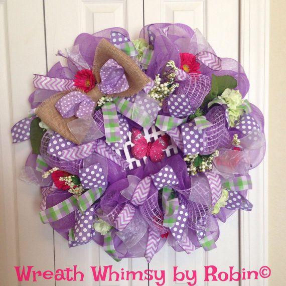 SALE Spring Lavender Deco Mesh Wreath by WreathWhimsybyRobin
