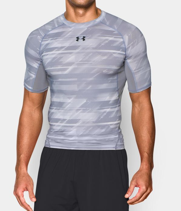 Men's UA HeatGear® Armour Printed Short Sleeve Compression Shirt. This is your workhorse; the first thing on, last thing off, every time you work.