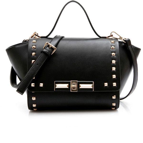 Mini Trapeze Satchel Bag (€41) ❤ liked on Polyvore featuring bags, handbags, stylemoi, black, bolsas, miniature purse, top handle handbags, satchel purse, flap satchel handbag and satchel handbags