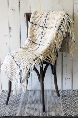 Check Chunky Weave Throw - Ivory with Grey