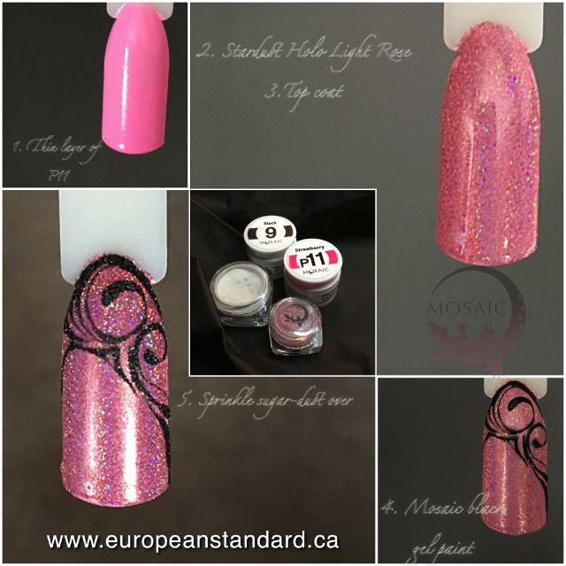 www.europeanstandard.ca/classes #nailart #stepbystep #mosaicgelpaints #mosaicglitter #tutorials