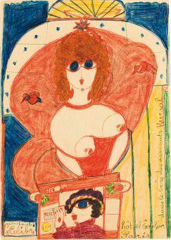 """Aloïse Corbaz (Swiss,    1886 -1964)She sings """"Le colibri"""" (Elle chante Le Colibri), 1950Kunstmuseum Solothurn, Swithzerland"""