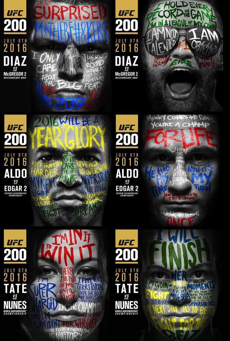 Nate Diaz vs Conor McGregor / Jose Aldo vs Frankie Edgar / Miesha Tate vs Amanda Nunez #UFC200 fight promo : if you love #MMA, you'll love the #UFC & #MixedMartialArts inspired fashion at CageCult: http://cagecult.com/mma