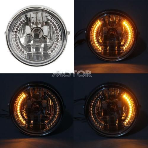 "motorcycle-parts: 7"" MOTORCYCLE HEADLIGHT PROJECTOR AMBER LED TURN SIGNAL FOR HARLEY BOBBER #Motorcycle - 7"" MOTORCYCLE HEADLIGHT PROJECTOR AMBER LED TURN SIGNAL FOR HARLEY BOBBER..."