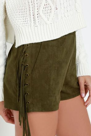 Ace of Suede Olive Green Suede Shorts