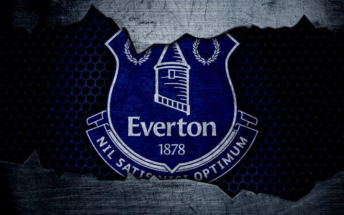 Télécharger fonds d'écran Everton FC, 4k, le football, Premier League, Angleterre, emblème, Everton logo, club de football, Liverpool, royaume-UNI, en métal, texture, grunge