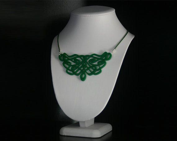 Decorative Art Nouveau Inspired Laser Cut Acrylic Bib Necklace in Dark Green. #statement #necklace