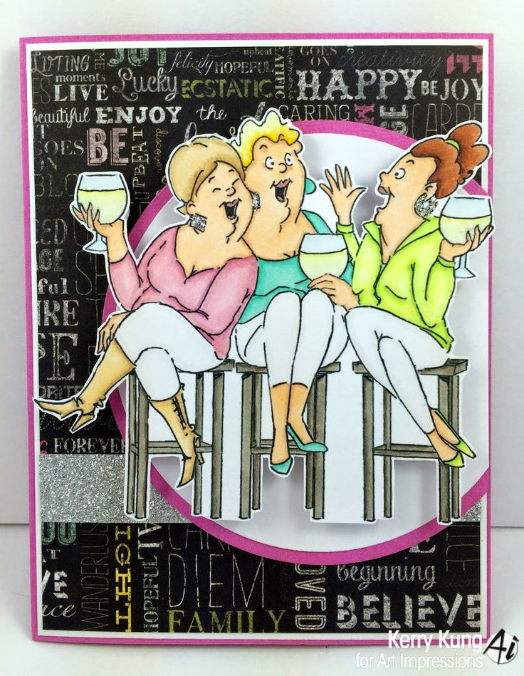 Art Impressions Rubber Stamps: Wine Tasters by Kerry