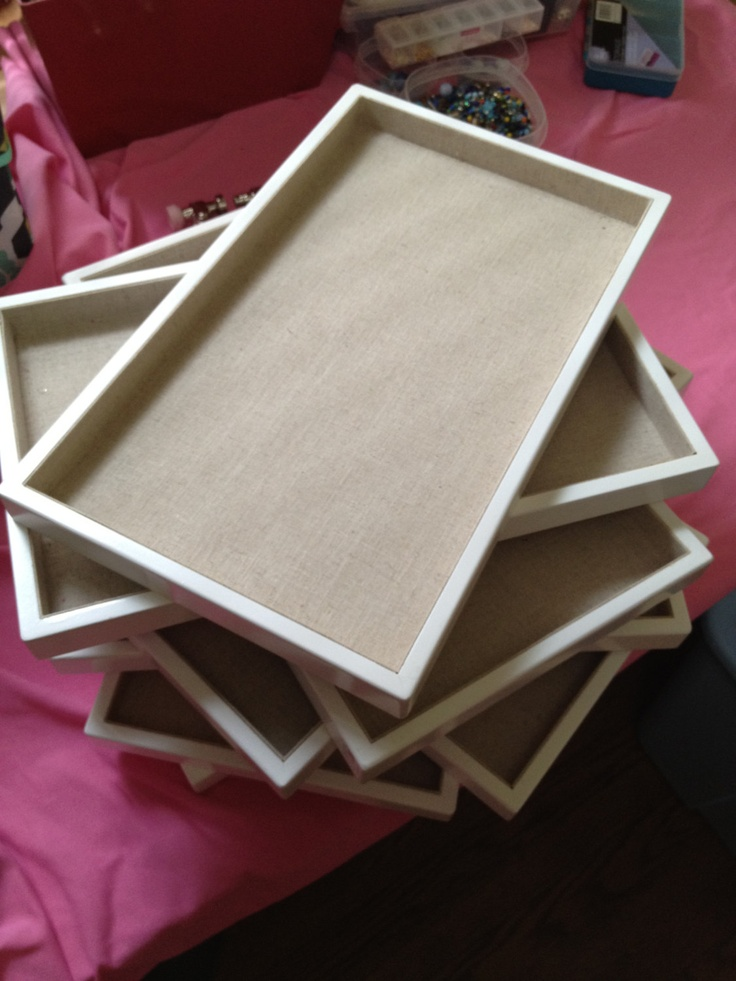 linen lined white jewelry display trays via etsy