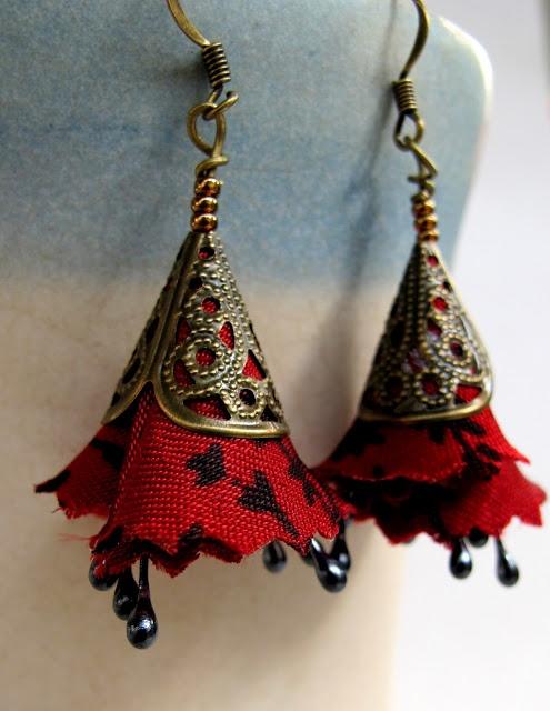 Red flower majestic fiber earrings