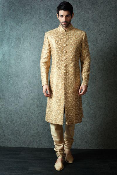 button down sherwani, gold sherwani, self print sherwani
