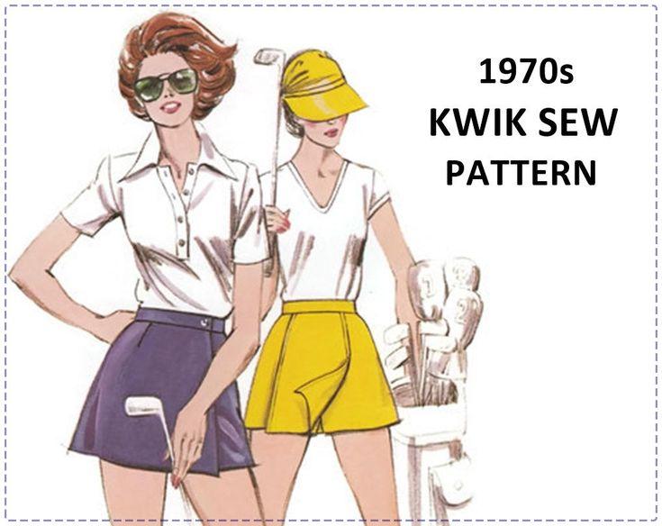 1970s Sportswear Sewing Pattern - Misses Golf Skirt, Skort - Kwik Sew 936 - Size 6 8 10 12 - Hip 34 36 38 - NOS UNCUT, Golf Wear, Golf Pants by EightMileVintageSews on Etsy