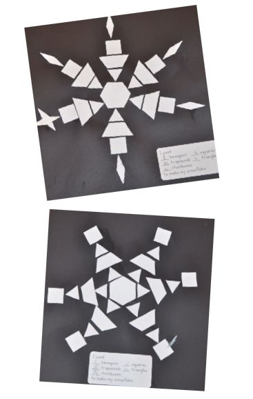 A Place Called Kindergarten: let it snow, let it snow, let it snow. pattern block die cut snowflakes.