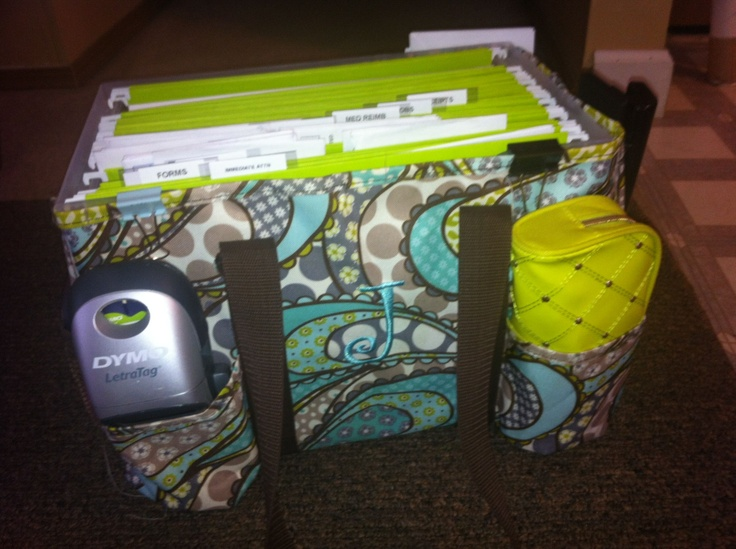 My mobile office using the Organizing Utility Tote by Thirty One.