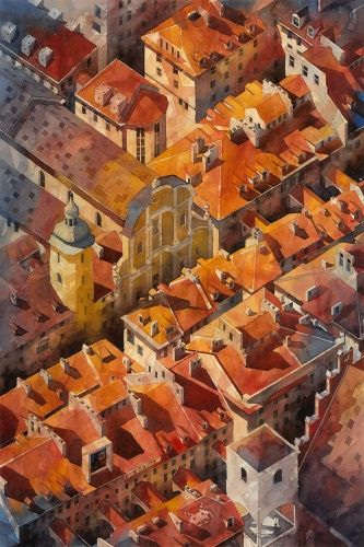 Old Town in Warsaw, Poland by Tytus Brzozowski. Tytus is a great architect and wonderful, very talented artist. Lumarte offers fine art prints in limited editions from artist's watercolors. Only 40 works printed on beautiful 100% cotton archival paper!:) some more of his works:  http://www.lumarte.eu/en/tytus-brzozowski-a136 www.facebook.com/galerialumarte