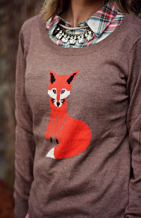 @Old Navy fox sweater with flannel and statement necklace #winterstyle