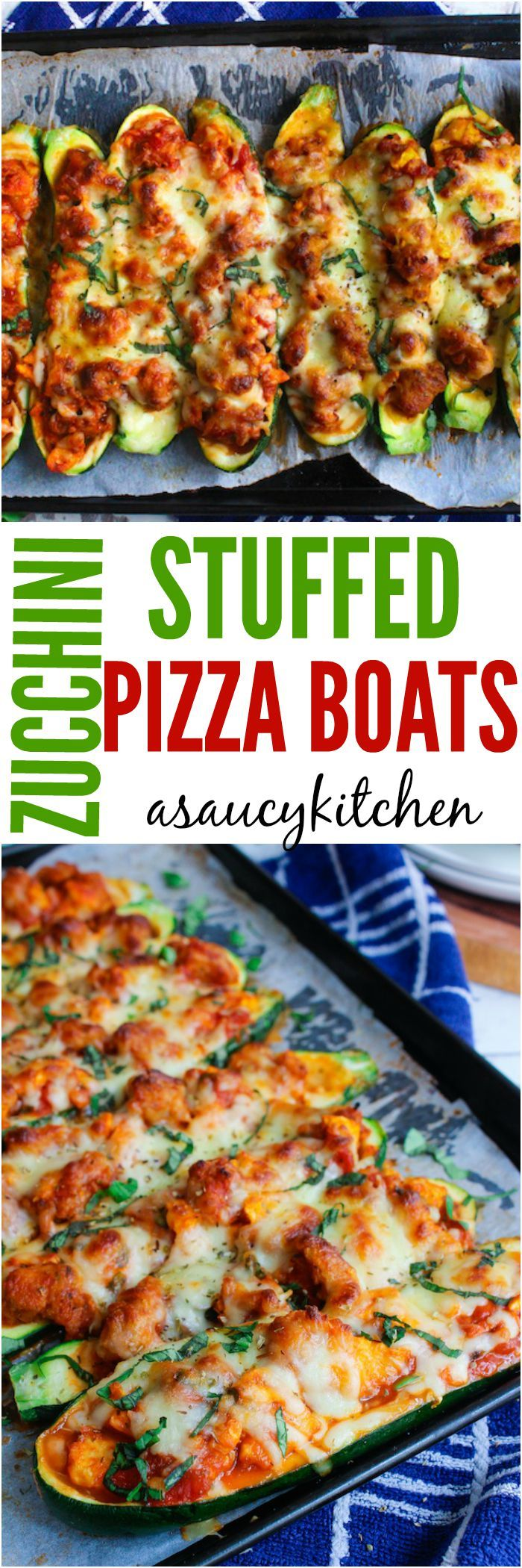 These sausage stuffed, cheesy zucchini pizza boats make for a quick and satisfying, low carb dinner dinner. Low FODMAP, gluten free, and paleo option