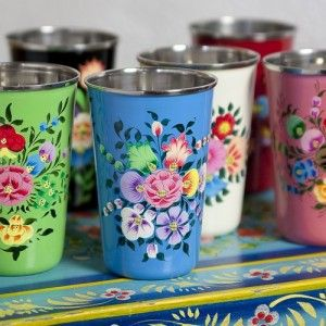 Handpainted Kashmiri enamel beakers. these would be lovely to put make up brushes/ eyeliner pencils etc... in!
