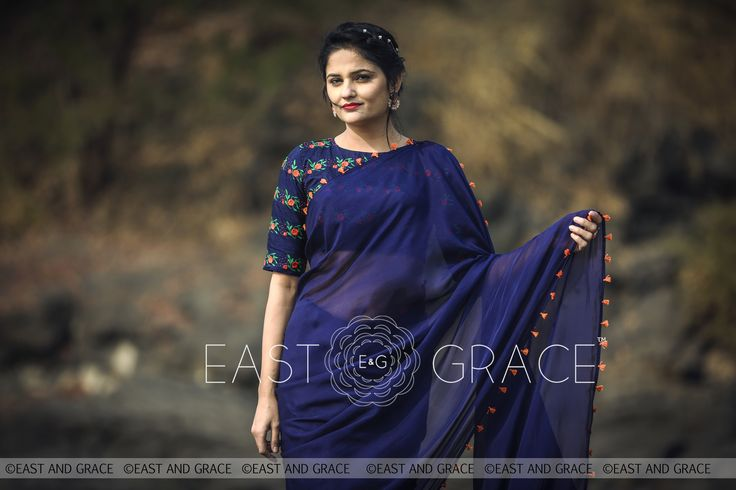 https://www.eastandgrace.com/products/blue-flame-saree