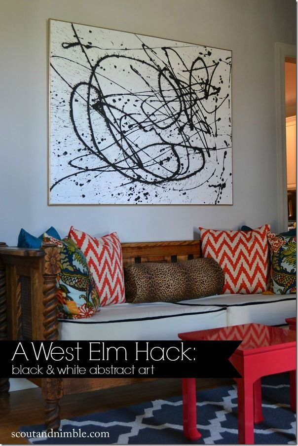 Abstract Art on stretched canvas. Big impact. Fun fabric patterns on pillows too.
