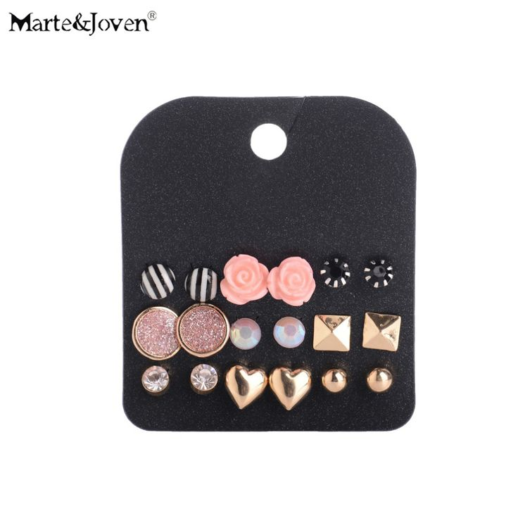 Wholesale Gold Plated Lovely Heart Black White Stripe Stud Earrings Hot-Sell Rose Earring Sets For Teen Girls 9 Pairs Jewelry