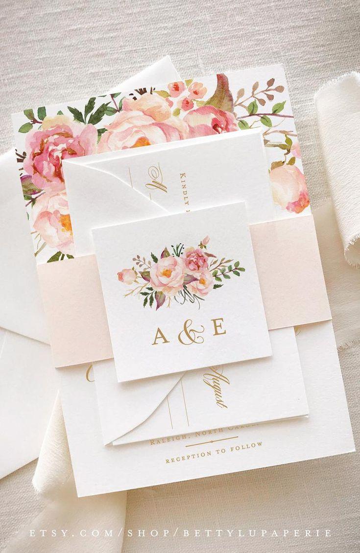 Bloos gouden bruiloft uitnodiging, bloemen bruiloft uitnodiging suite, a15