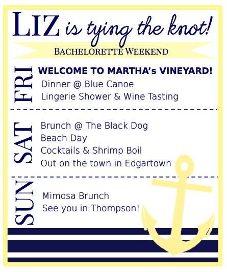 Nautical Bachelorette Party Itinerary - Martha's Vineyard