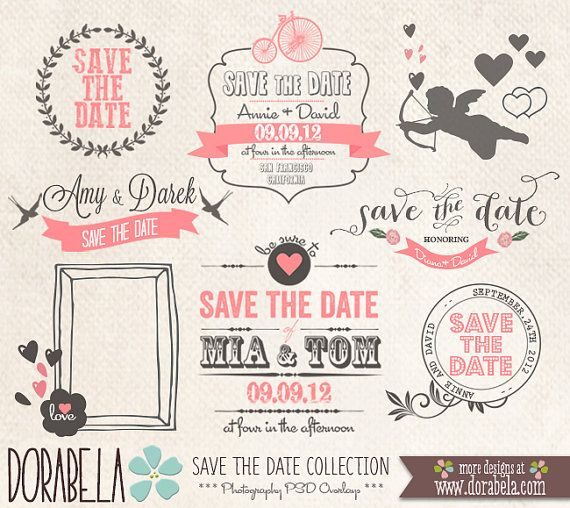 Save the date collection photography psd overlays by for Save the date psd