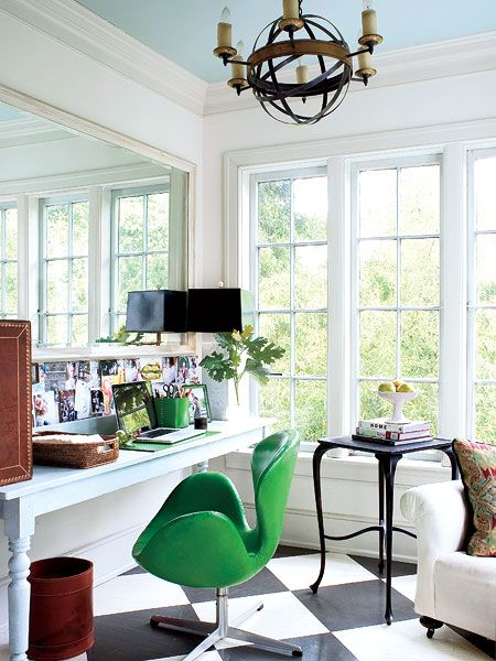 Green chair. Office.