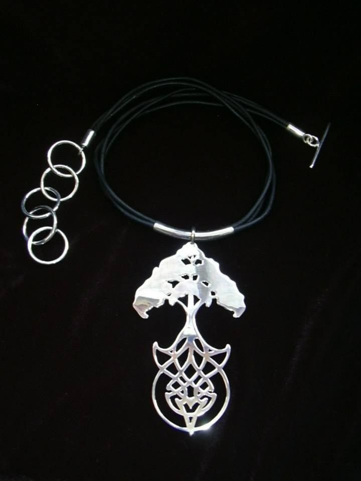 Handcrafted celtic ``tree of life`` necklace with leather cord.  by Chasing Destiny Silver