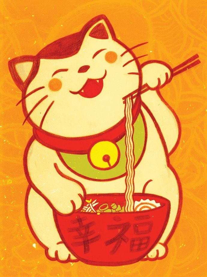 """Ramen Maneki-neko"" by Sarah Gonzales  Print available at http://www.inprnt.com/gallery/sarahgo/ramen-maneki-neko/?utm_content=bufferdfaf9&utm_medium=social&utm_source=pinterest.com&utm_campaign=buffer  #artprint #art #illustration"