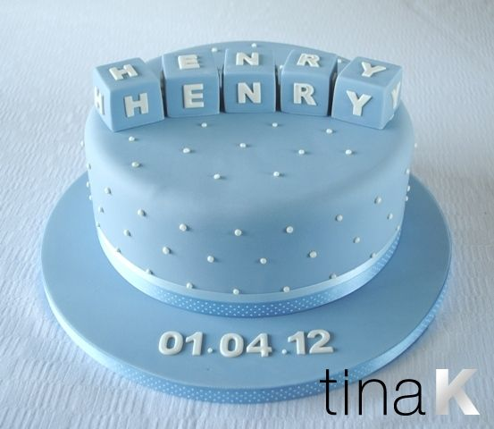 Baby Boy Building Blocks Christening Cake.