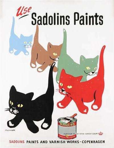 Sandolins Paints vintage advertising poster by Erik Stockmarr (1950)