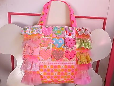 Antique Fabric Pinks Patchwork Quilt Heart Bag アンティークファブリックピンクス ハートのバッグ
