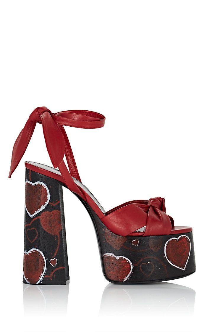 ede62e0e Saint Laurent Leather Painted-Hearts Platform Sandals in 2019 ...