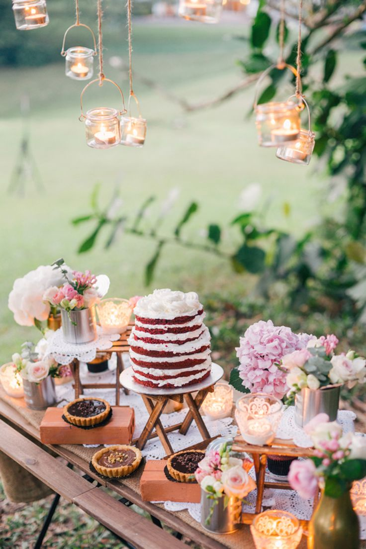 Gorgeous dessert table with a naked red velvet cake! Dreamy and Rustic Wedding Picnic Inspiration
